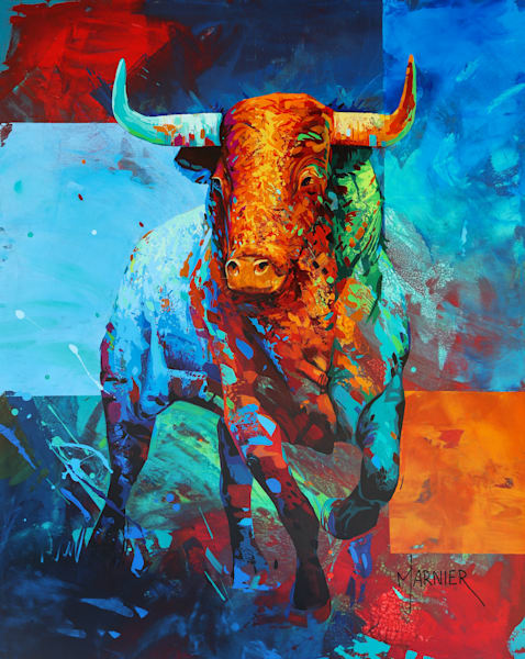 Sacred Bull, Egyptian mythology, art, original painting, Marnier artist