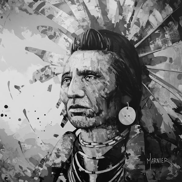 Chief Eagle, Black & White, Marnier, art, painting, HD quality print