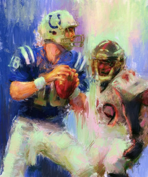 Peyton Manning painting   Sports Artist Mark Trubisky   Custom Sports Art