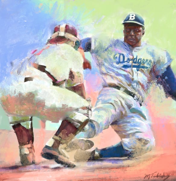 Jackie Robinson vintage painting   Sports Artist Mark Trubisky   Custom Sports Art.