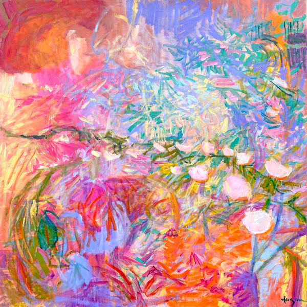 Pink Abstract Floral Painting, Canvas Art Print by Dorothy Fagan
