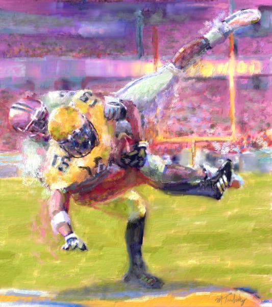 Saving tackle Football painting   Sports Artist Mark Trubisky   Custom Sports Art