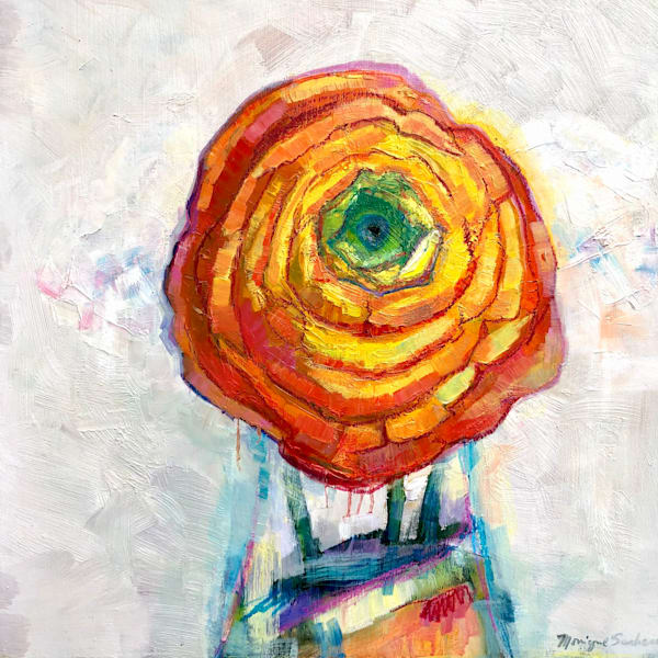 Still Life With Orange Ranunculus Flower Trio in antique French bottle oil painting  on wood impressionist.