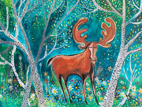 Moose And Birches Art | DuggArt