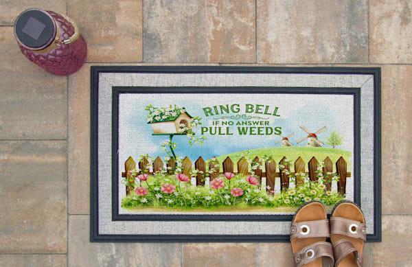 Ring Bell Pull Weeds Doormat