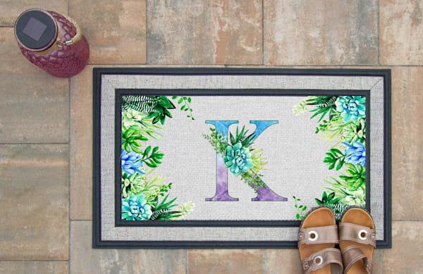 Succulent Monogram Doormat