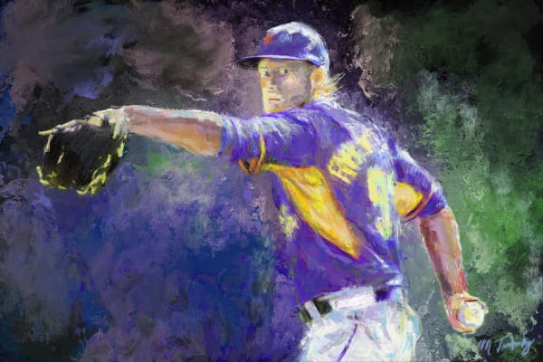 Baseball paintings and art prints of a pitcher with a face of determination in delivering a strike-out.