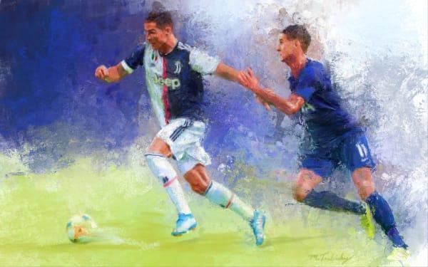 Christiano Ronaldo painting | Sports artist Mark Trubisky | Custom Sports Art