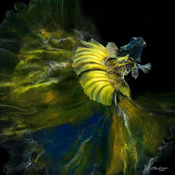 Betta Fish Yellow Blue (Original)  Art | Patrick Bezalel Pte Ltd