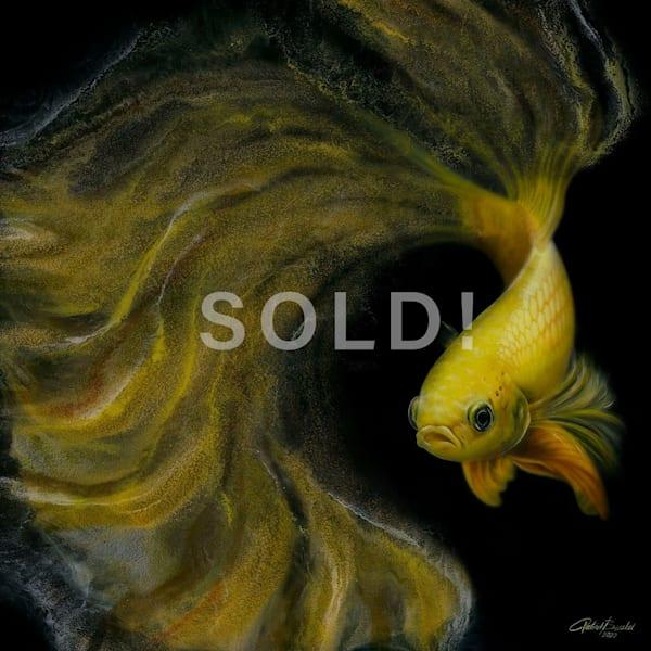 Betta Fish Yellow (Original) Art | Patrick Bezalel Pte Ltd