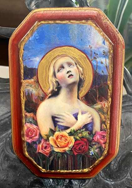 """""""Santa Fe Angel Of Hope"""" Solid Wood Handpainted Plaque, Octagon, Chili Red 