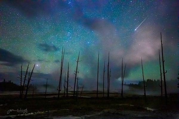 Meteor Over The Norris Geyser Basin, Yellowstone National Park Photography Art | John Winnie Jr. Photography