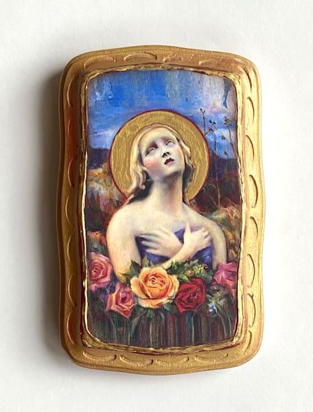 """Santa Fe Angel Of Hope"" Solid Wood Handpainted Plaque, Fancy, Gold | Maniscalco Art"