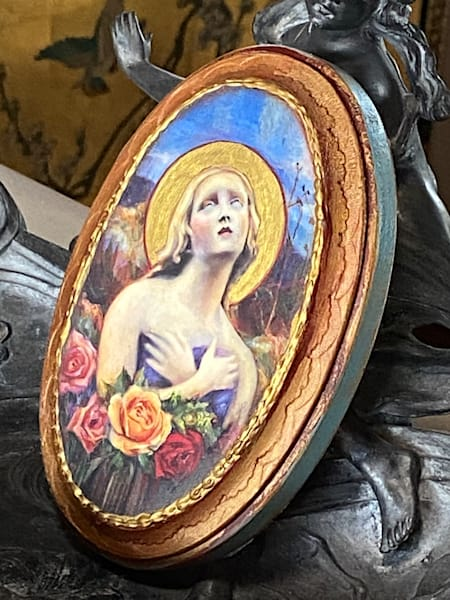 """""""Santa Fe Angel Of Hope"""" Solid Wood Handpainted Plaque, Oval, Turquoise 