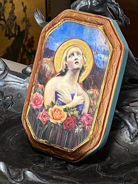 """Santa Fe Angel Of Hope"" Solid Wood Handpainted Plaque, Turquoise | Maniscalco Art"