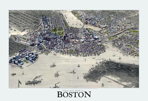 Bird's Eye View Of Boston 1871 Art   Mark Hersch Photography