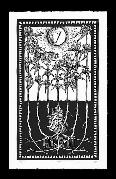 Roots Of Growth, 7 Of Roots (Linocut Limited Ed. Print) Art   Artemesia Galerie