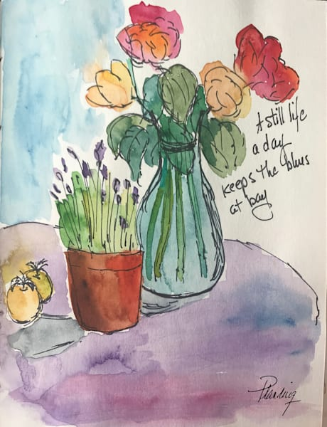 Flowers in a Vase (original)   Mary Planding