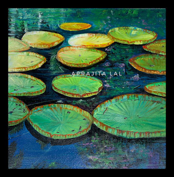 """Lily pads"" in Oils by Aprajita Lal"
