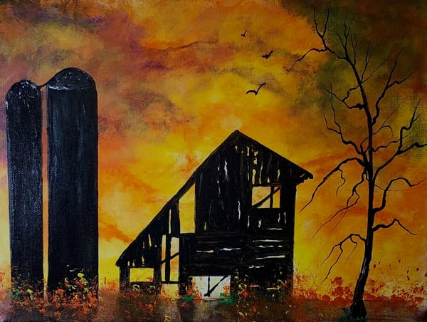 Fire At The Old Barn Art | House of Fey Art