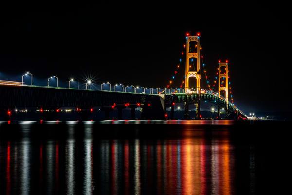 machinaw bridge reflections great lakes
