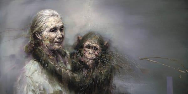 Jane Goodall And A Chimp (Oil On Print) Art   Mathieu Laca