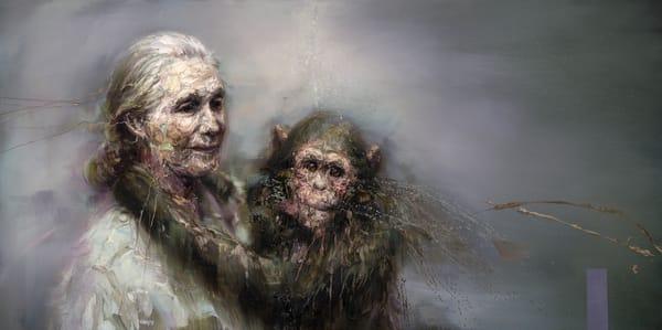 Jane Goodall And A Chimp Art | Mathieu Laca