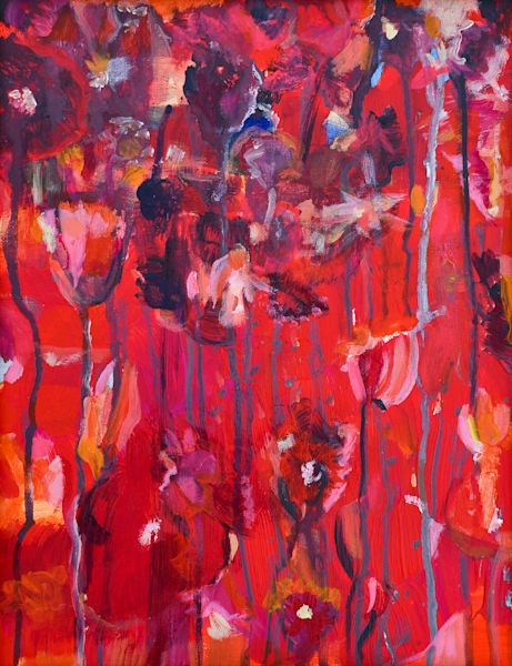 Flower Shadows In Red Art | All Together Art, Inc Jane Runyeon Works of Art