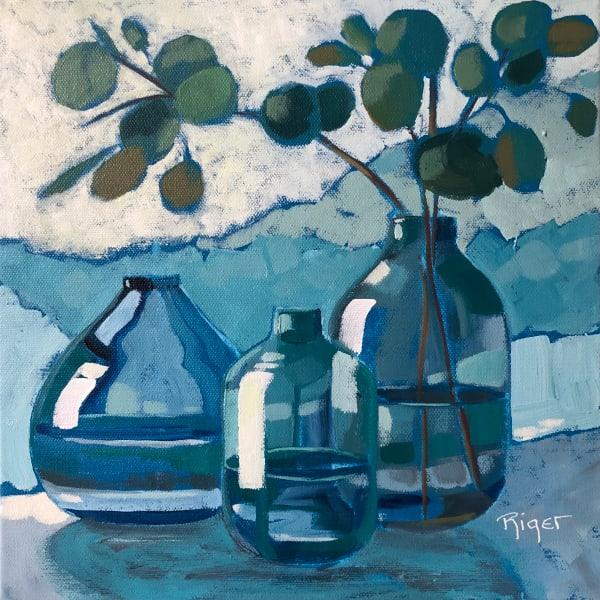 Eucalyptus in Blue Glassware