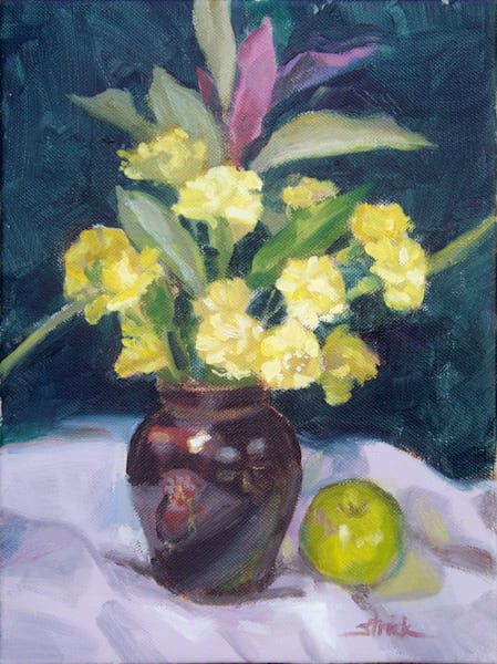 Yellow Flowers And Green Apple Art | Strickly Art