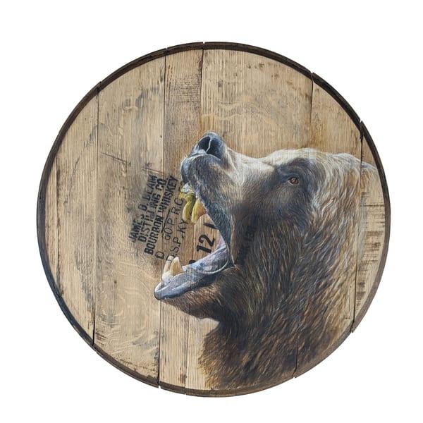 Bear Bourbon Barrel Art   Lori Vogel Studio