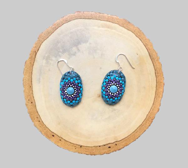 Blue and Purple Mini Oval Earrings (H)