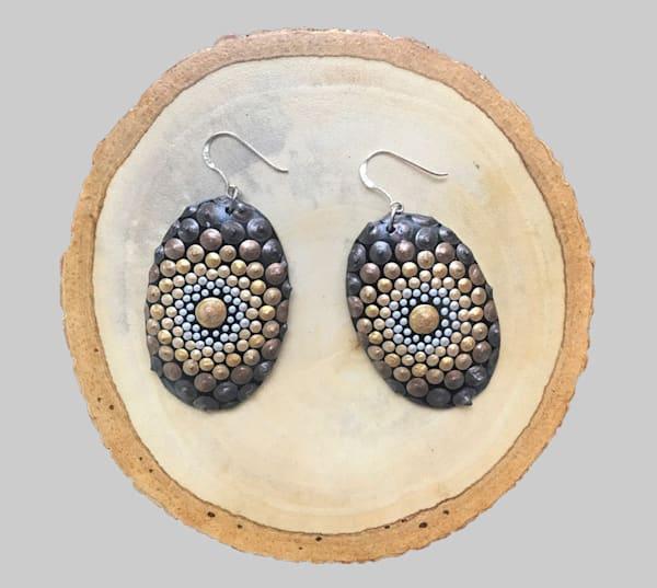Golden Oval Earrings (A)