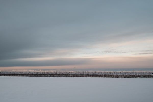 Warm pastel colored clouds just before sunrise in a snowy Icelandic winter morning