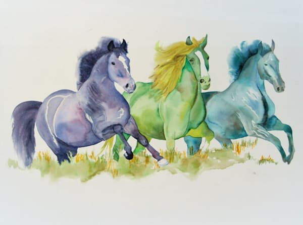 Watercolor painting of Three Wild Horses