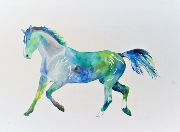 Watercolor painting of a horse in abstract colors