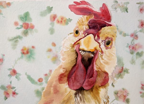 Close-up of a chicken on floral background - watercolor