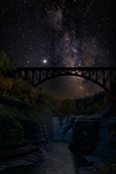Upper Falls In Letchworth State Park, Ny And Milky Way Photography Art | RAndrews Photos