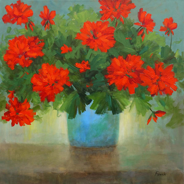 Red Geraniums in a Blue Pot by Sheila Finch