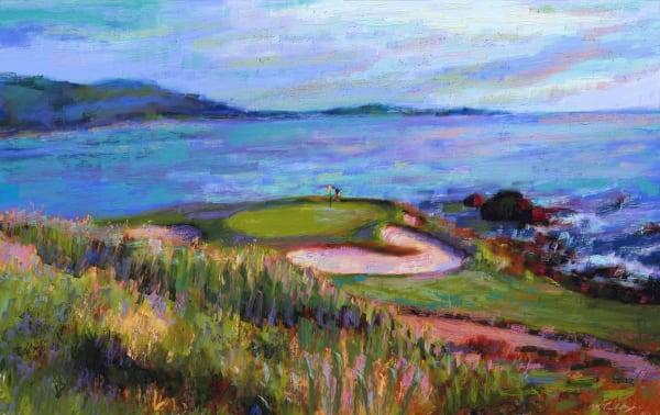 Pebble Beach golf painting   Sports artist Mark Trubisky   Custom Sports Art
