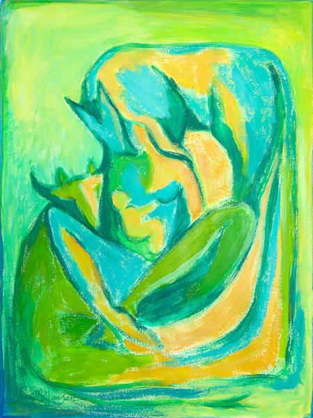 Madonna With Cow And Horse (green) | Micky Jansen