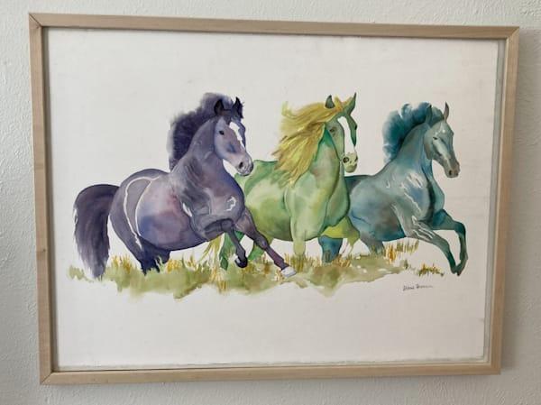 Wild Horses   Original Painting Art | Fancy Brown Cow