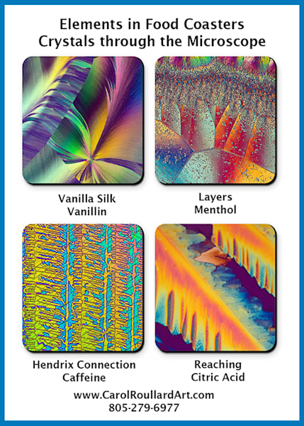 Elements In Food   Set Of 4 Coasters | Carol Roullard Art