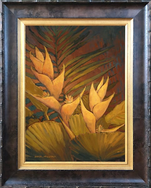 Golden Heliconia In Stock Framed