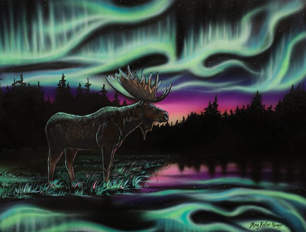 King of the North by Amy Keller-Rempp - moose - northern lights