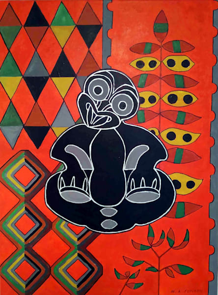 Black Tiki is a abstract acrylic painting by Christchurch  New Zealand painter Heather Jonson.