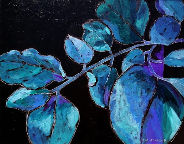 Blue Leaves is a botanical acrylic painting by Christchurch, New Zealand artist Heather Jonson