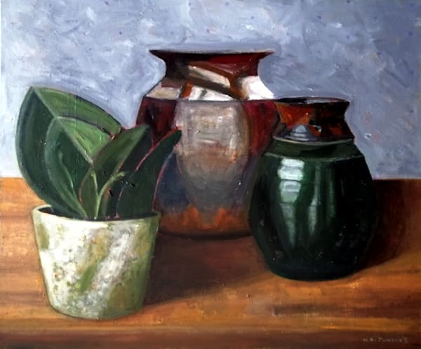 Three Post (Home Series) is a still life acrylic painting by Christchurch, New Zealand artist Heather Jonson