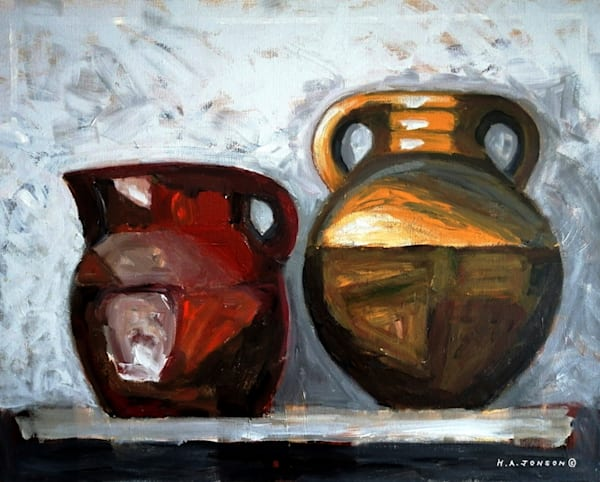 Two Pots (Home Series) is a still life acrylic painting by Christchurch, New Zealand artist Heather Jonson