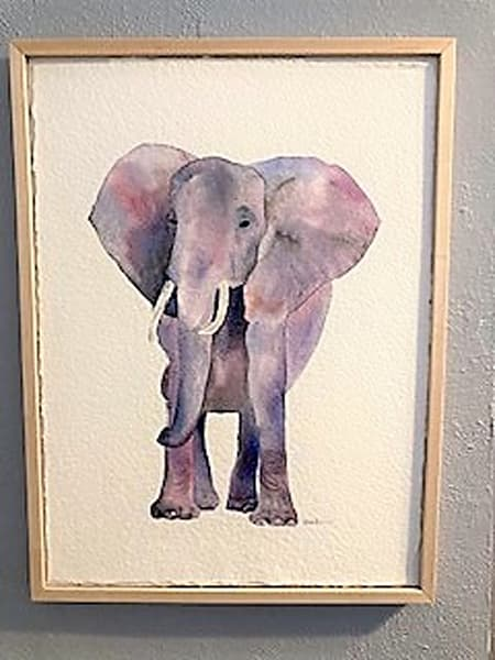 Watercolor painting of elephant during lockdown
